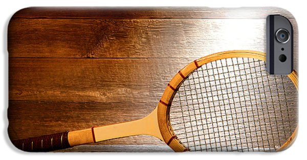 Tennis iPhone Cases - Vintage Tennis Racket iPhone Case by Olivier Le Queinec