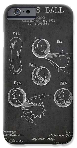 Tennis Ball iPhone Cases - Vintage Tennnis Ball Patent Drawing from 1914 iPhone Case by Aged Pixel