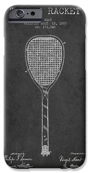 Technical iPhone Cases - Vintage Tennnis Racket Patent Drawing from 1887-Dark iPhone Case by Aged Pixel