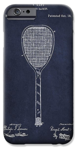 Tennis iPhone Cases - Vintage Tennnis Racket Patent Drawing from 1887-Navy Blue iPhone Case by Aged Pixel