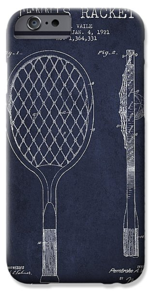 Tennis iPhone Cases - Vintage Tennnis Racket Patent Drawing from 1921 - Navy Blue iPhone Case by Aged Pixel