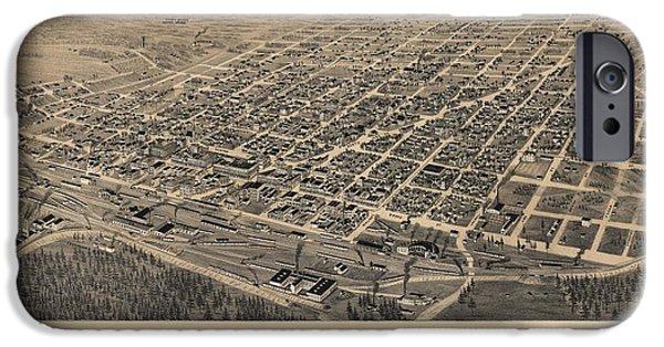 Arkansas iPhone Cases - Vintage Texarkana Map iPhone Case by Dan Sproul