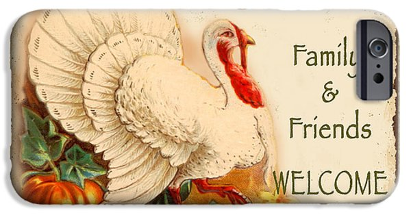 Thanksgiving Digital iPhone Cases - Vintage Thanksgiving-A iPhone Case by Jean Plout
