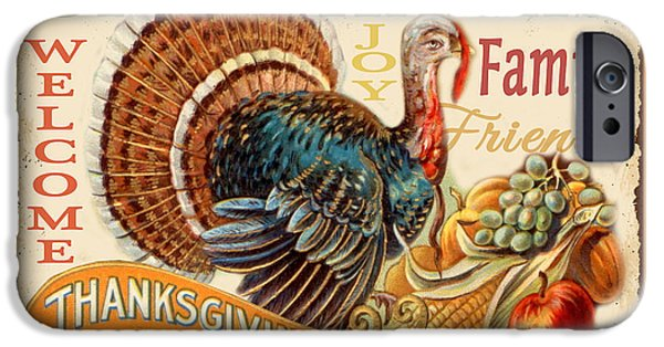 Thanksgiving Digital iPhone Cases - Vintage Thanksgiving-C iPhone Case by Jean Plout