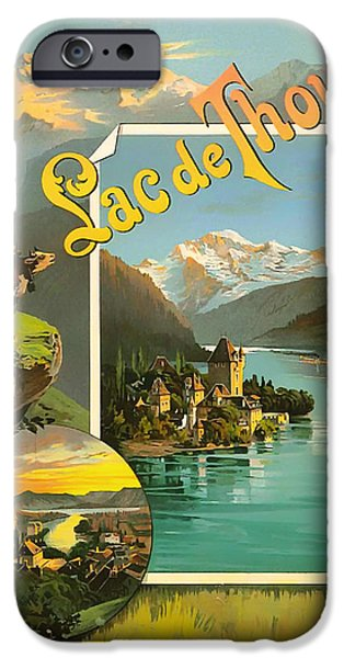 Switzerland Drawings iPhone Cases - Vintage Tourism Poster 1890 iPhone Case by Mountain Dreams