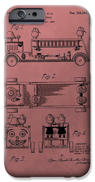 Toy Store iPhone Cases - Vintage Toy Fire Truck Patent iPhone Case by Dan Sproul