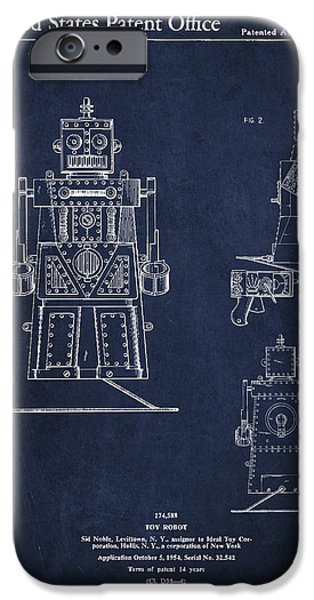 Robot iPhone Cases - Vintage Toy Robot Patent Drawing from 1955 iPhone Case by Aged Pixel