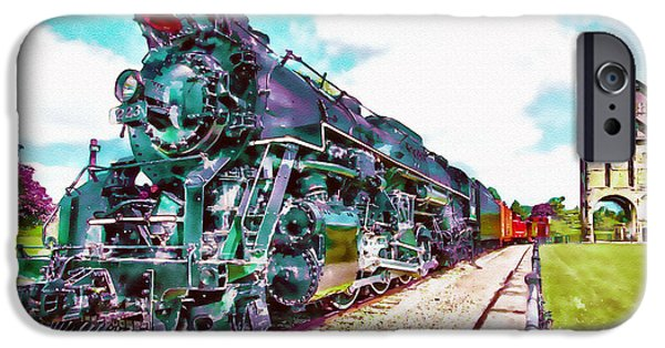 Marian iPhone Cases - Vintage Train watercolor iPhone Case by Marian Voicu