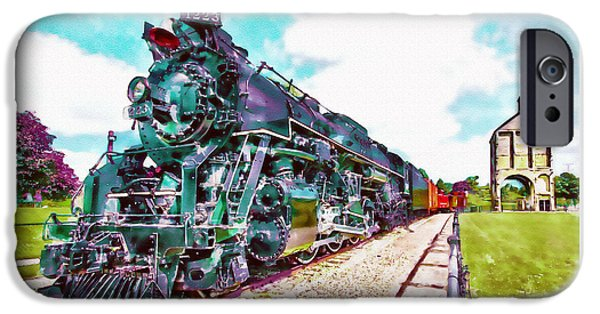 The Horse iPhone Cases - Vintage Train watercolor iPhone Case by Marian Voicu