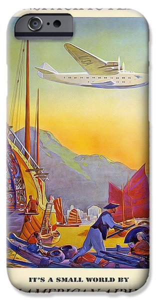 Vintage Travel iPhone Cases - Vintage TransPacific Flight Travel Poster iPhone Case by Jon Neidert
