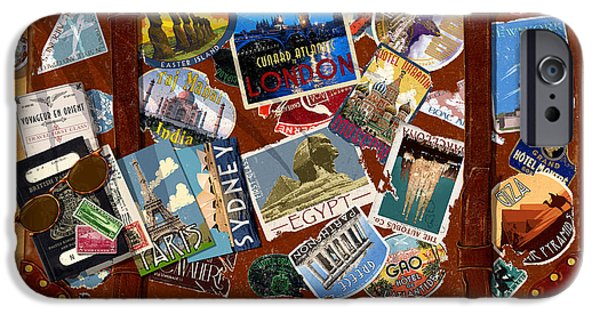 Sticker iPhone Cases - Vintage Travel Case iPhone Case by Garry Walton