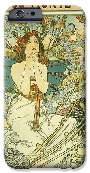 Vintage Travel iPhone Cases - Vintage Travel Poster for Monaco Monte Carlo iPhone Case by Alphonse Marie Mucha