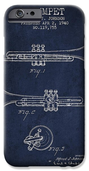 Trumpet iPhone Cases - Vintage Trumpet Patent from 1940 - Blue iPhone Case by Aged Pixel