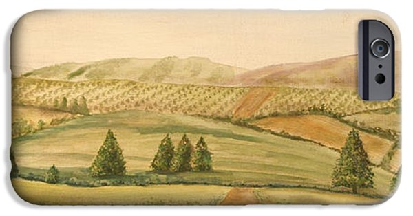 Tuscan Hills Paintings iPhone Cases - Vintage Tuscan Landscape-2 iPhone Case by Jean Plout