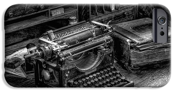 Business Digital Art iPhone Cases - Vintage Typewriter iPhone Case by Adrian Evans