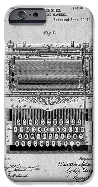 Business Drawings iPhone Cases - Vintage Typewriter Patent Art 1896 iPhone Case by Edward Fielding