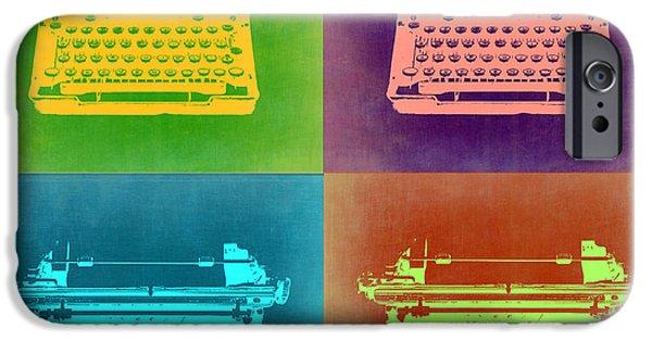 Writer iPhone Cases - Vintage Typewriter Pop Art 1 iPhone Case by Naxart Studio