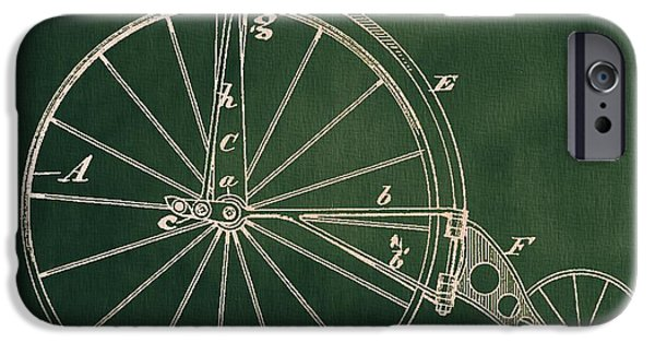 Bicycle Drawings iPhone Cases - Vintage Velocipede Patent iPhone Case by Dan Sproul