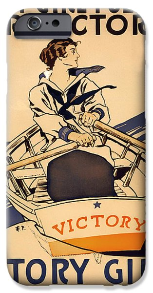 1910s Poster Art iPhone Cases - Vintage Victory Girls World War I Poster 1918 iPhone Case by Mountain Dreams