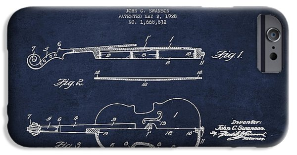 Strings Digital iPhone Cases - Vintage Violin Patent Drawing From 1928 iPhone Case by Aged Pixel