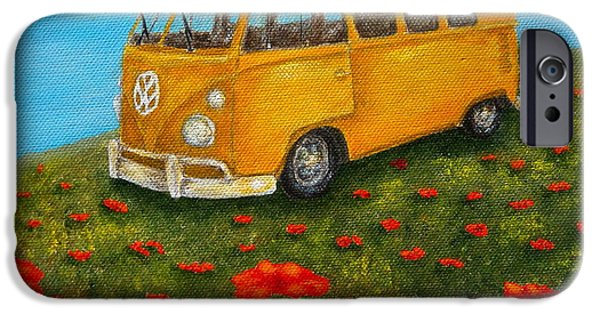 Field. Cloud Mixed Media iPhone Cases - Vintage VW Bus iPhone Case by Pamela Allegretto