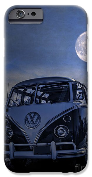 Moonlit Night Photographs iPhone Cases - Vintage VW bus parked at the beach under the moonlight iPhone Case by Edward Fielding