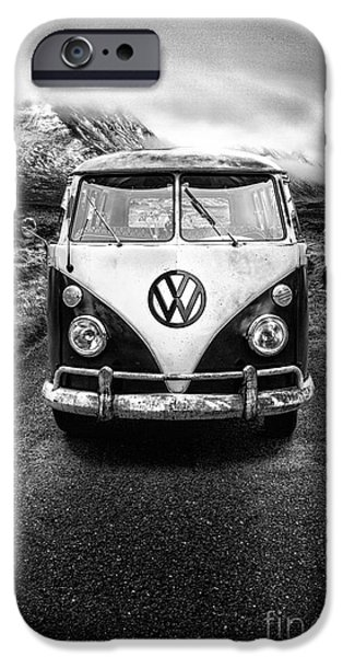 Cold iPhone Cases - Vintage VW Camper iPhone Case by John Farnan