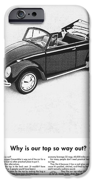 Volks iPhone Cases - Vintage VW Convertible Advert iPhone Case by Nomad Art And  Design