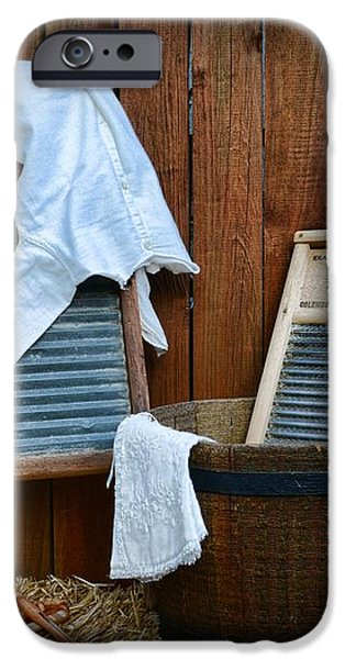 Vintage Washboard Laundry Day iPhone Case by Paul Ward