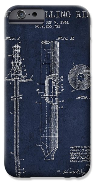 Industry iPhone Cases - Vintage Well drilling rig Patent from 1941 iPhone Case by Aged Pixel