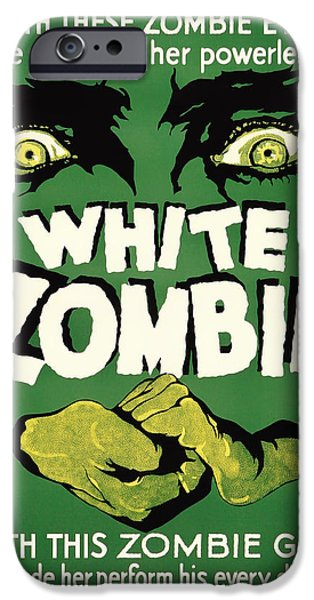 Eerie Drawings iPhone Cases - Vintage White Zombie Movie Poster iPhone Case by Mountain Dreams
