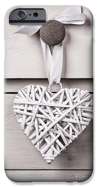 Vintage wicker heart iPhone Case by Jane Rix