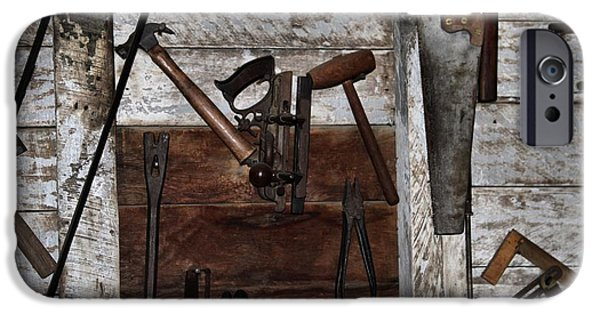 Work Tool iPhone Cases - Vintage Work Room iPhone Case by Dan Sproul