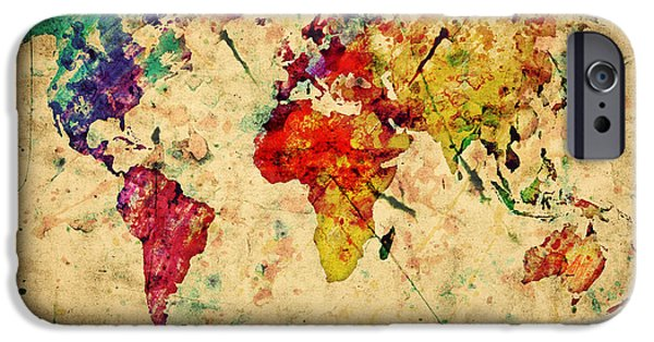 Pattern Books iPhone Cases - Vintage world map iPhone Case by Michal Bednarek