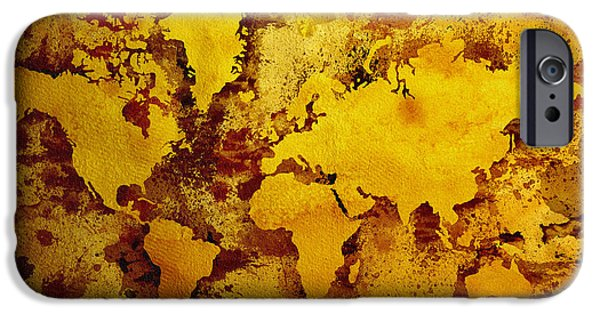 Old Map Digital iPhone Cases - Vintage World Map iPhone Case by Zaira Dzhaubaeva