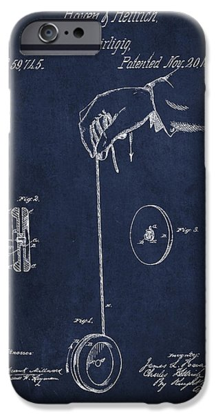 Technical iPhone Cases - Vintage Yoyo Patent Drawing from 1866 iPhone Case by Aged Pixel