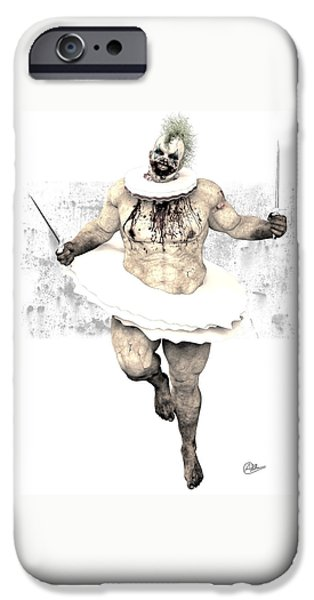 Creepy Drawings iPhone Cases - Scary clown By Quim Abella iPhone Case by Joaquin Abella