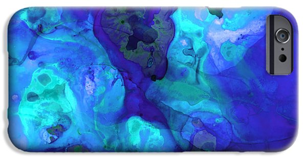 Abstract Movement Mixed Media iPhone Cases - Violet Blue - Abstract Art By Sharon Cummings iPhone Case by Sharon Cummings