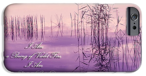 Miracle iPhone Cases - Violet Fire Mantra Words iPhone Case by Jenny Rainbow