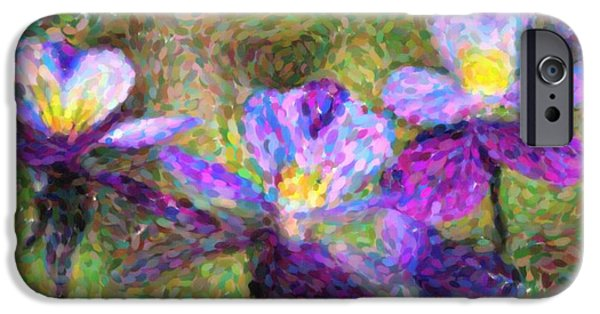 Copy Mixed Media iPhone Cases - Violet flowers iPhone Case by Toppart Sweden