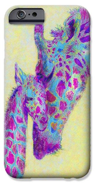 Giraffe Digital iPhone Cases - Violet Giraffes iPhone Case by Jane Schnetlage