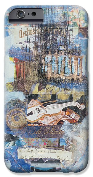 Sheets iPhone Cases - Violin, 1998 Mixed Media iPhone Case by Nissan Engel