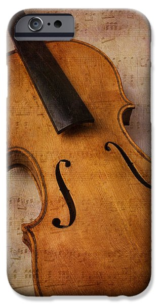 Sheets iPhone Cases - Violin Abstract iPhone Case by Garry Gay