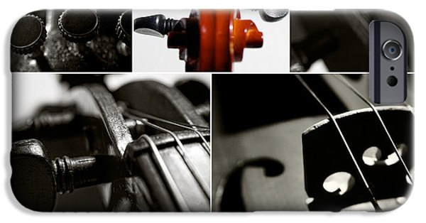 Macro Mixed Media iPhone Cases - Violin Collage iPhone Case by Aleksey Tugolukov