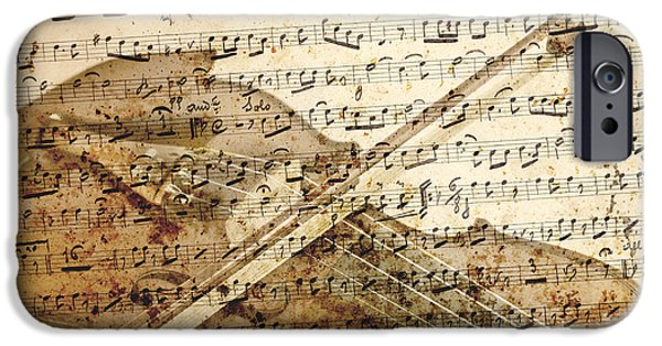 Sheets iPhone Cases - Violin musical note background iPhone Case by Gregory DUBUS