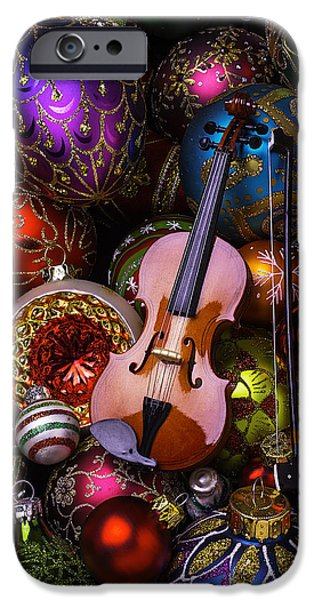 Violin iPhone Cases - Violin On Christmas Ornaments iPhone Case by Garry Gay