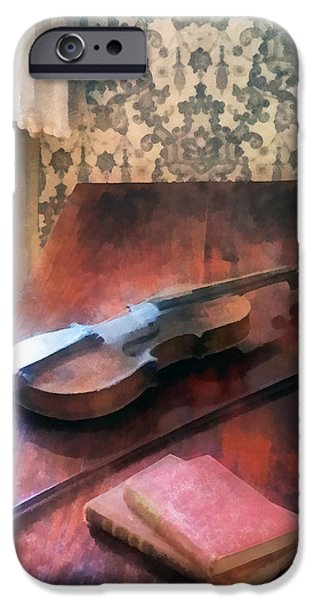 Violin on Credenza iPhone Case by Susan Savad