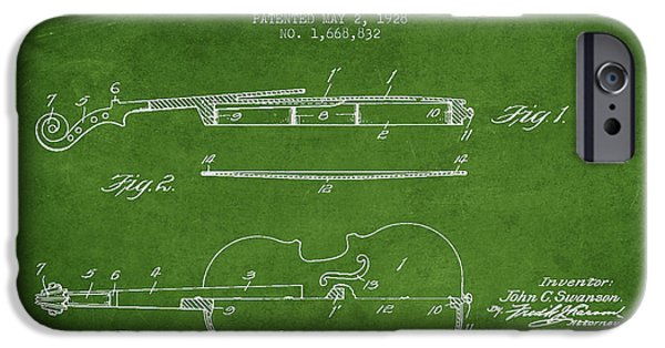 Violin iPhone Cases - Violin Patent Drawing From 1928 iPhone Case by Aged Pixel