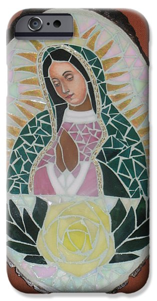 Culture Glass iPhone Cases - Virgen De Guadalupe iPhone Case by Rosa Cardenas