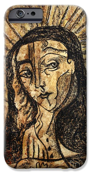 Religious Drawings iPhone Cases - Virgen Marina iPhone Case by Sandoval Maciel
